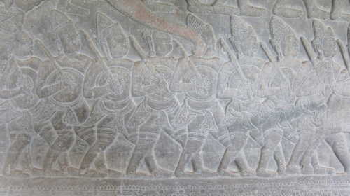 Detail of part of the 16th century CE bas-reliefs at Angkor Wat.
